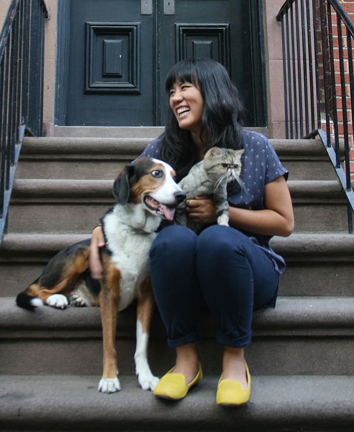 Ruth Chan with real-life Georgie and Feta